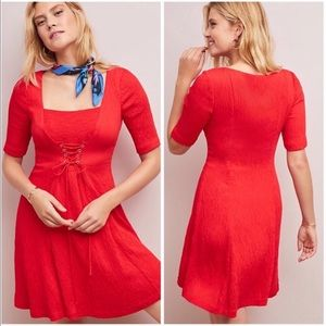 NEW • Maeve • Corseted Red Lace Up Dress 16